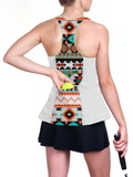 Casual custom white racerback tennis top with Aztec patterns