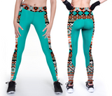Casual custom Teal leggings with Aztec patterns
