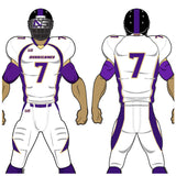 Adult or youth Broncos style purple, vegas gold, and white custom traditional football jersey and football pant