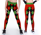 Custom red and green leggings with christmas sweater prints