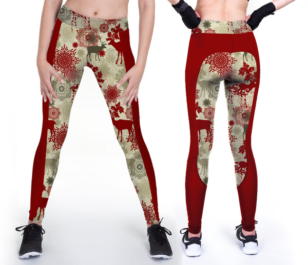 Custom Red Christmas Reindeer Leggings