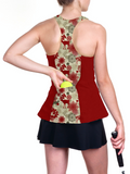 Custom Red Christmas Reindeer racerback tennis top