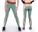 Custom muilti color christmas leggings with reindeer prints