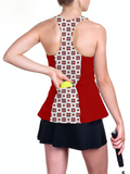 Custom Christmas red and white snowflake racerback tennis top