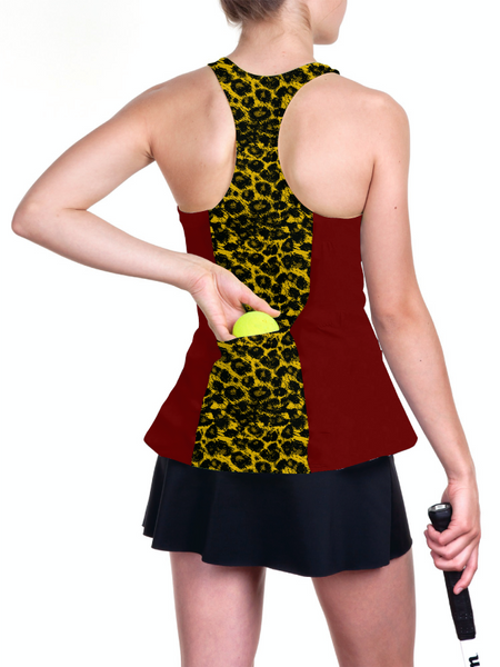 Custom mascot based marron and yellow racerback tennis top with cheetah prints