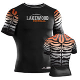 Tigers Style Custom Sublimated Compression Shirt - Black & Orange