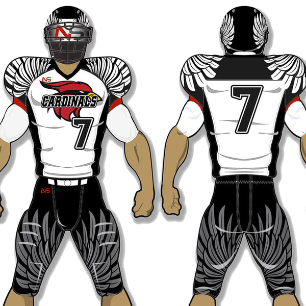 Hawks style white, black and red custom sublimated football uniform - Cardinals