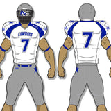 Cowboys Style grey, white, and royal blue custom sublimated football uniform - Cowboys
