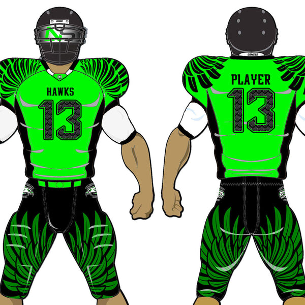 Hawks style Neon Green, black and White custom sublimated football uniform - Hawks
