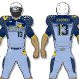Hornets style Sky blue, navy blue, and yellow custom sublimated football uniform - Hornets