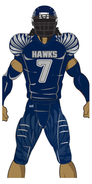 Adult or youth Hawks style navy blue and silver custom sublimated football jersey and football pant