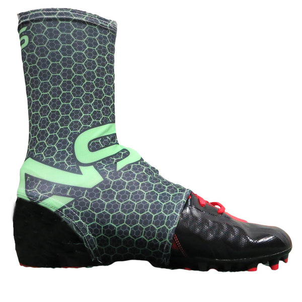Neo X3 Youth & Adult Hornet Style Black & Neon Green Football Cleat Spat - Side View