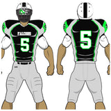 Adult or youth Night Hawk style black, neon green, white, and carbon grey custom traditional football jersey and football pant