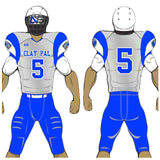 Adult or youth Panther's style royal, carbon grey, and white custom traditional football jersey and football pant
