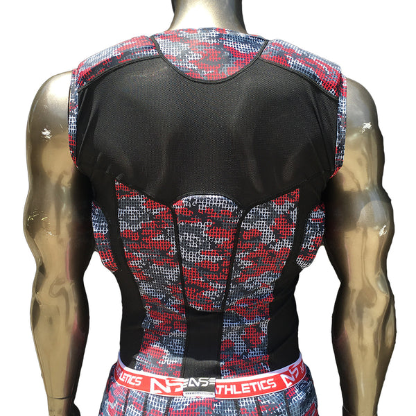 Red Camo Padded Football Shirt Back View Adult and Youth