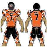 Adult or youth Texans style orange, white, and black custom sublimated football jersey and football pant