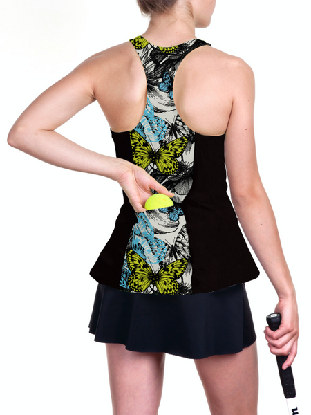 Custom casual black racerback tennis top with flowers and butterfly prints