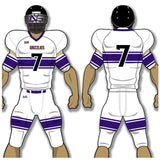 Adult or youth Nebraska style white, vegas gold, purple, and black custom sublimated football jersey and football pant