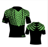 Hawks Style Compression Shirt - Black & Neon Green