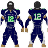 Adult or youth Split Back style navy blue, carbon grey, and neon green custom traditional football jersey and football pant