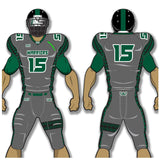 Adult or youth Warriors style dark grey, forest green, and white custom sublimated football jersey and football pant
