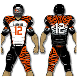 Adult or youth Tigers style orange, white, and black custom sublimated football jersey and football pant