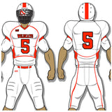 Adult or youth Wildcat style white and cardinal custom traditional football jersey and football pant