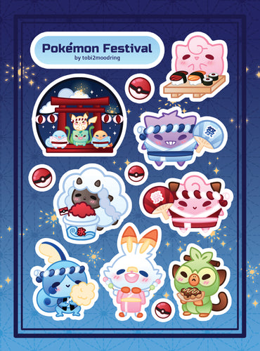 Pokemon Summer Festival Vinyl Sticker Sheet