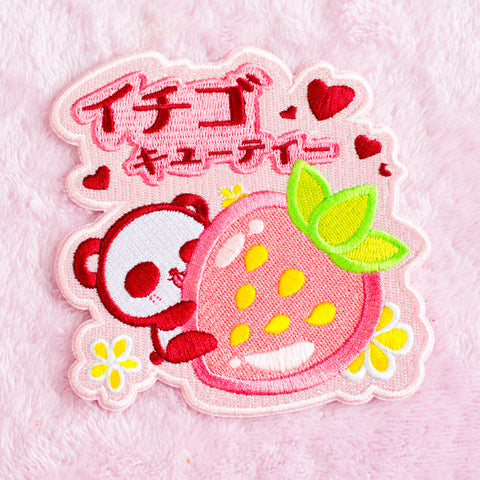 Panda Strawberry - Iron On Patch