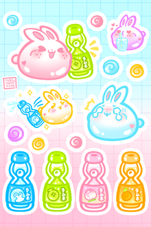 Sweet Ramune Bunnies - Vinyl Sticker Sheet