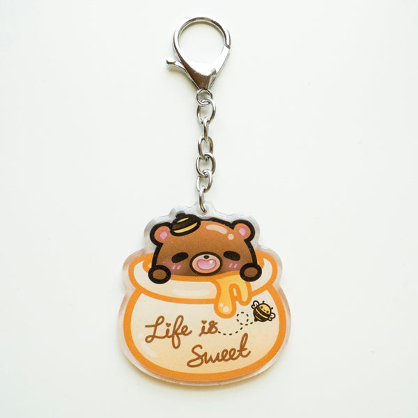Life is Sweet Honey Bear Keychain