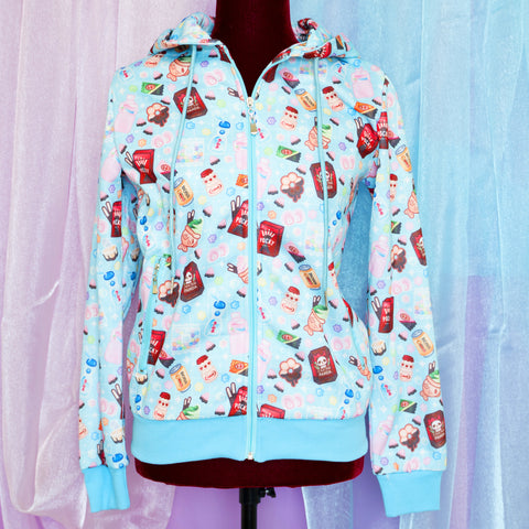 Okashi Light Blue - Zip up Hoodie