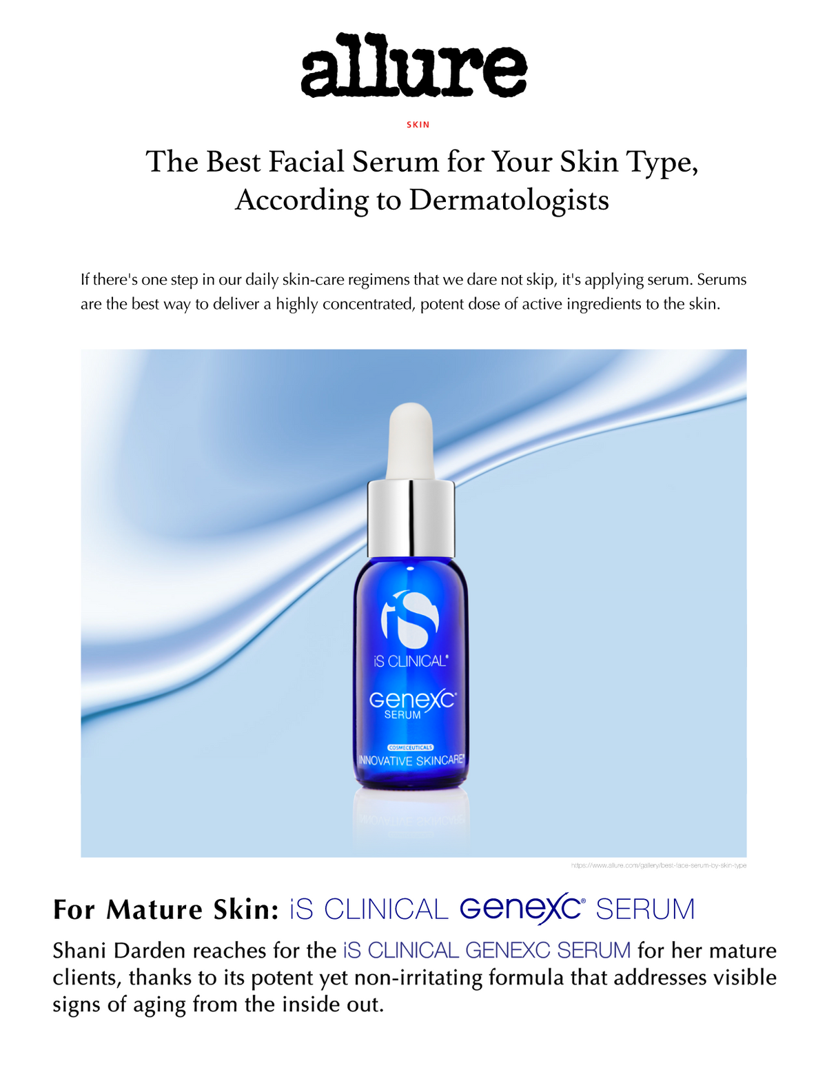 iS Clinical GeneXC Serum Allure Magazine