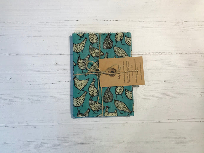 Beeswax food wraps. Chickens