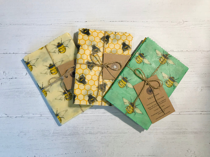 Beeswax food wraps. Bee prints