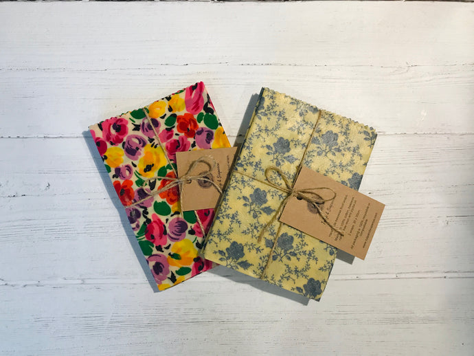 Beeswax food wrap. Floral prints