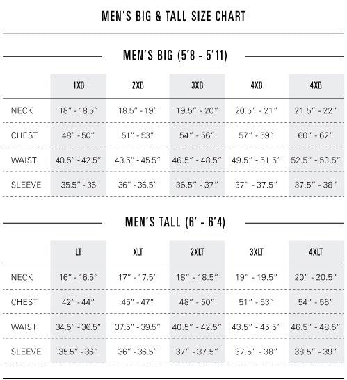 Big and Tall Plus Size Charts