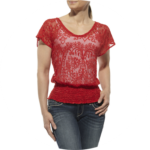 Ariat Medallion Lace Top Red