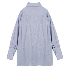 Tie Front Button Cuff Shirt - Indigo