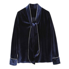 Midnight Tie Neck Velvet Blouse - Indigo