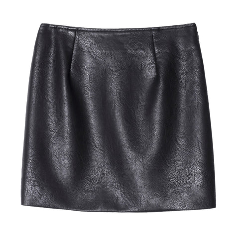 Flower Embroidered Leather Mini Skirt