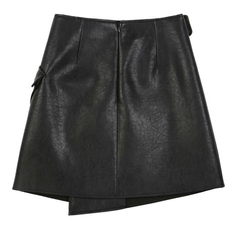 Avant-Garde Leather Mini Skirt - Indigo
