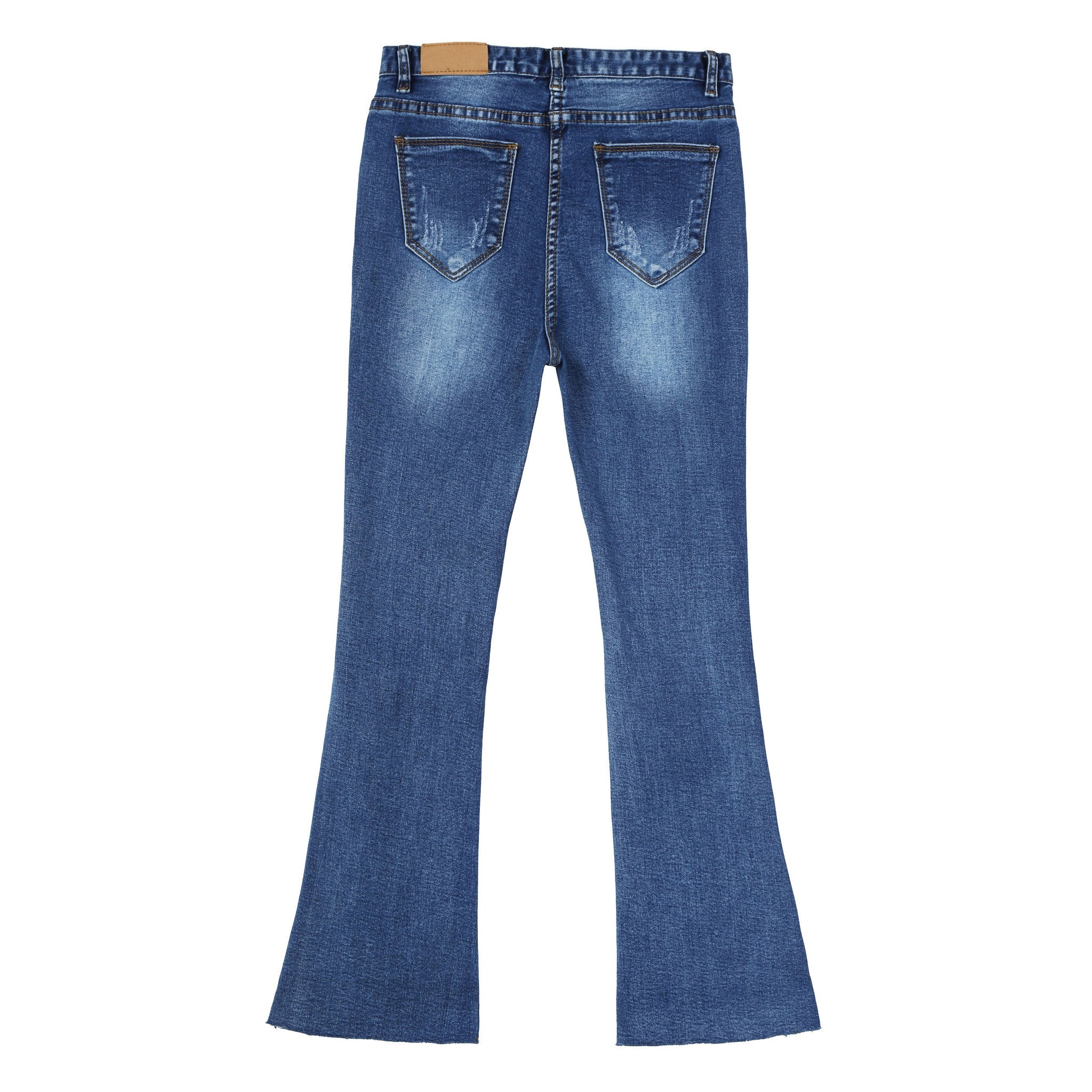 Distressed Ankle Flare Jeans - Indigo