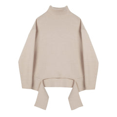 Cut Out Tie Front Funnel Neck Sweater - Indigo