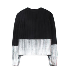 Dip Dye Effect Black and White Cardigan - Indigo