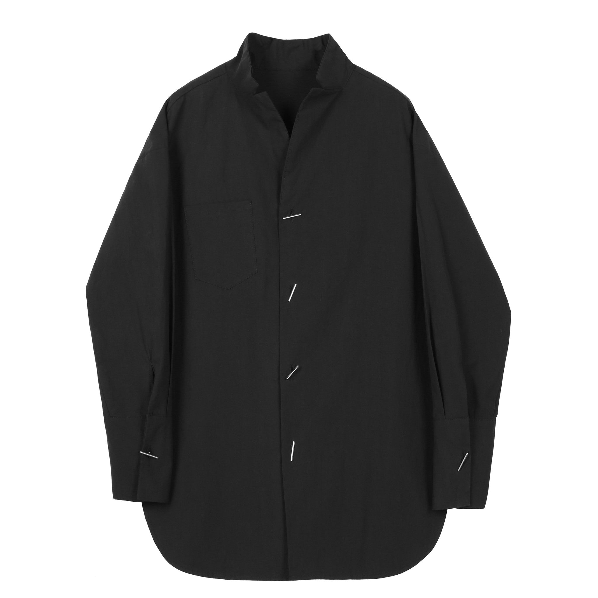 Black Mandarin Collar Shirt - Indigo