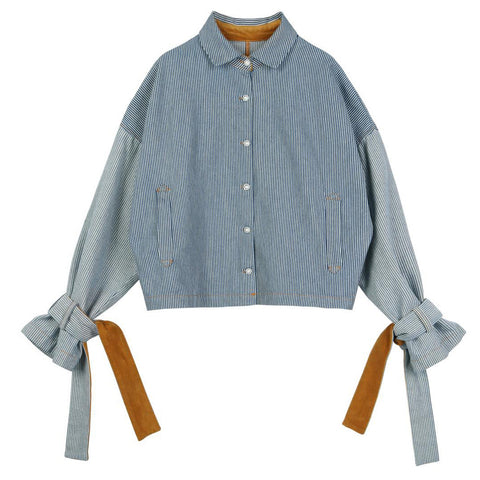 Belted Cuff Striped Denim Shirt - Indigo