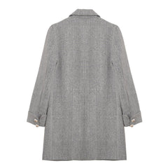 Button Detail Herringbone Coat - Indigo
