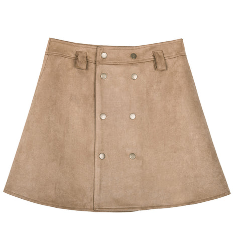 Button Front Tan Mini Suede Skirt - Indigo