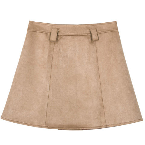 Button Front Tan Mini Suede Skirt
